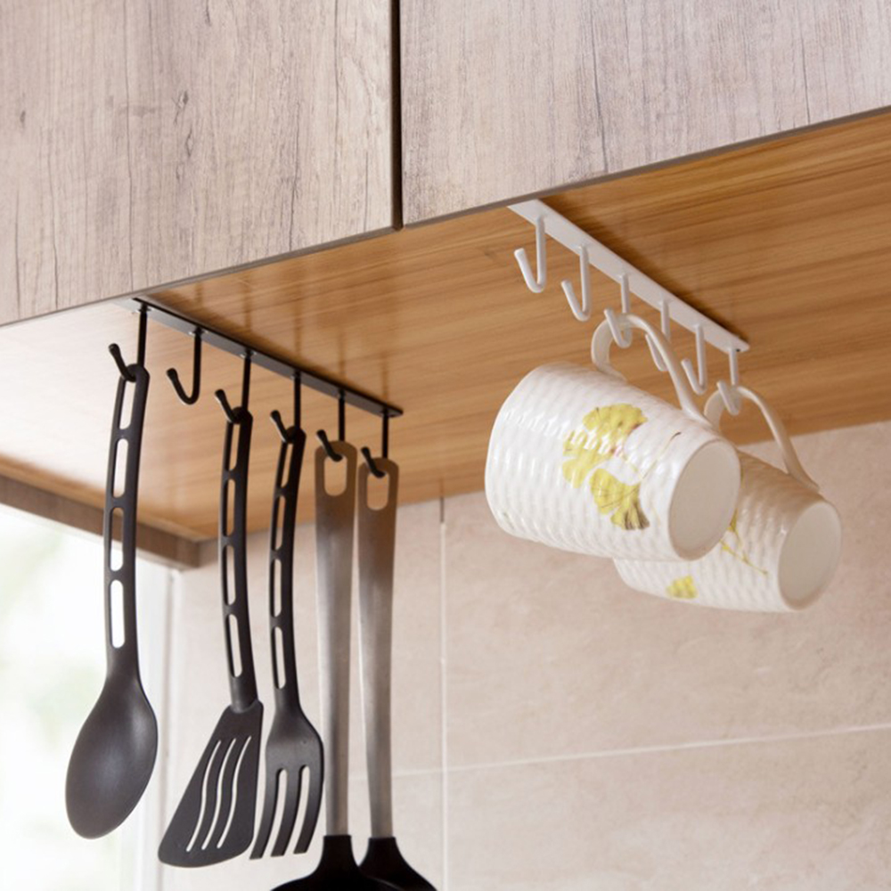 Multi-Function Nail-Free New Under-Cabinet Hanger Rack With  6 Hooks For Kitchen Bathroom Towel Hook Storage Cupboard Shelf Hook
