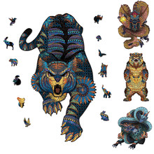 Puzle de madera con arte Animal creativo para adultos y niños, rompecabezas Irregular difíciles para manualidades, regalo interactivo