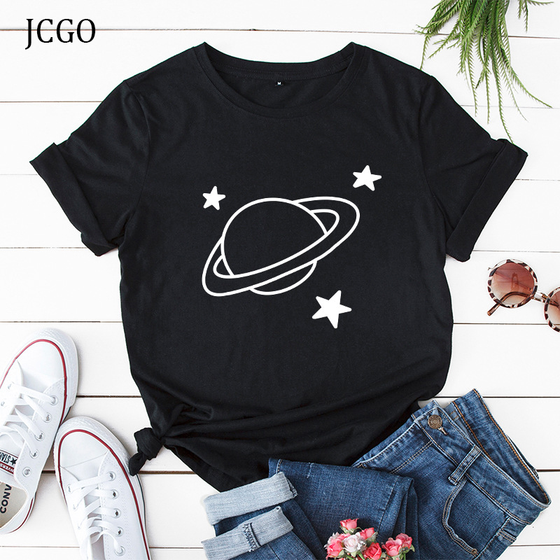 JCGO Women Summer T Shirt 100% Cotton Star Planet Space Print Plus Size S-5XL T Shirt O-Neck Short Sleeve Casual Lady Tee Tops