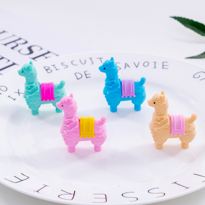 4pcs/set New Kawaii And Cute Little Alpaca Stationery Eraser For School For Lastik Pencil School Office Supplies
