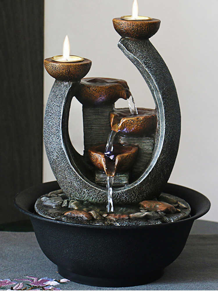Multifunction Indoor Water Fountain Candle Holders With Led Lights Three Tier Soothing Cascading Tabletop Fountains With Rocks Aliexpress