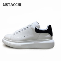 MStacchi 2020 Elegant Pure Color Non Slip Men Vulcanize Shoes Unisex Outdoor Mid Lace Up Heel Cow Leather Thick Bottom Sneaker