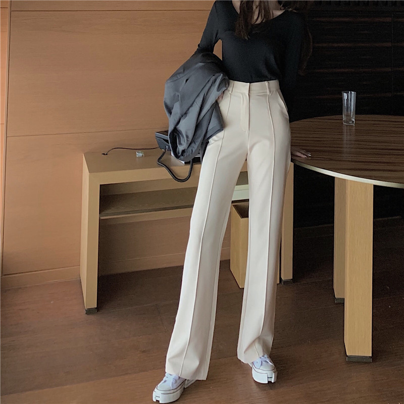 Elegant Women's Pants Spring Autumn Solid High Waist Buttons Wide Leg Pants Office Lady Straight Slim Trousers Femme