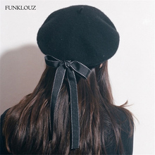 Funklouz Fasion Women Soft Bow Elegant Berets Winter Warm Hat Harajuku Wool Beret