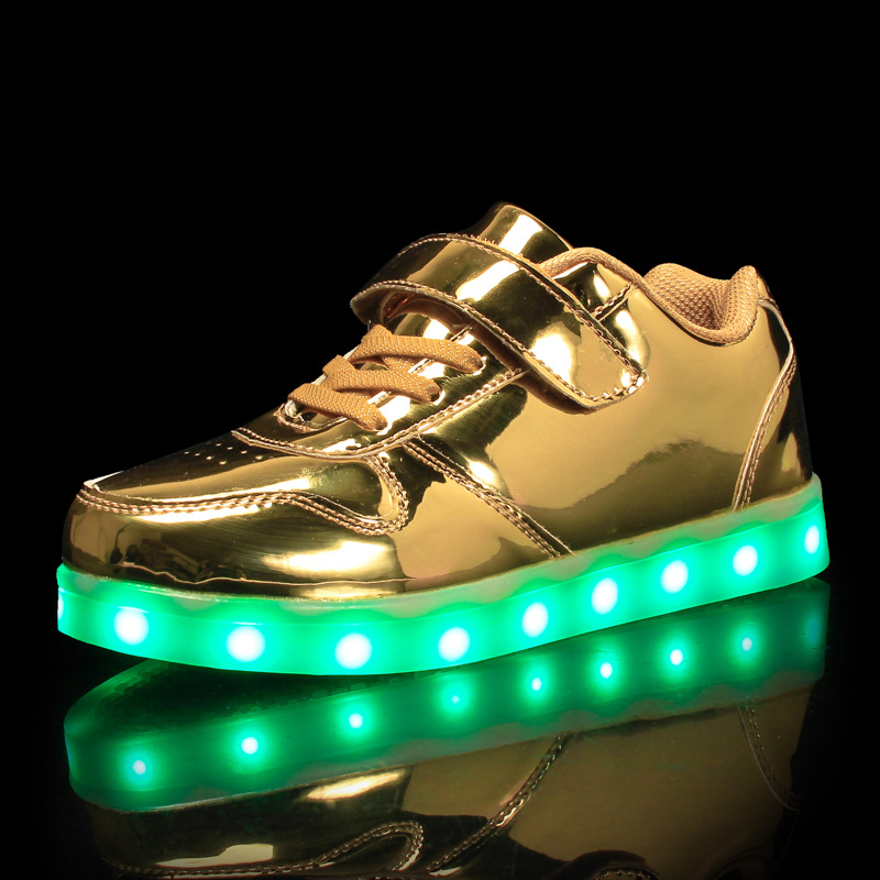Size 25-37 USB Basket Led Child Shoes With Light Up Kids Luminous Sneakers Children's Glowing Shoe Enfant For Boys