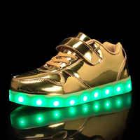 Taille 25-37 USB Basket Led Enfant chaussures avec lumière enfants lumineux baskets enfants brillant chaussure Enfant pour garçons