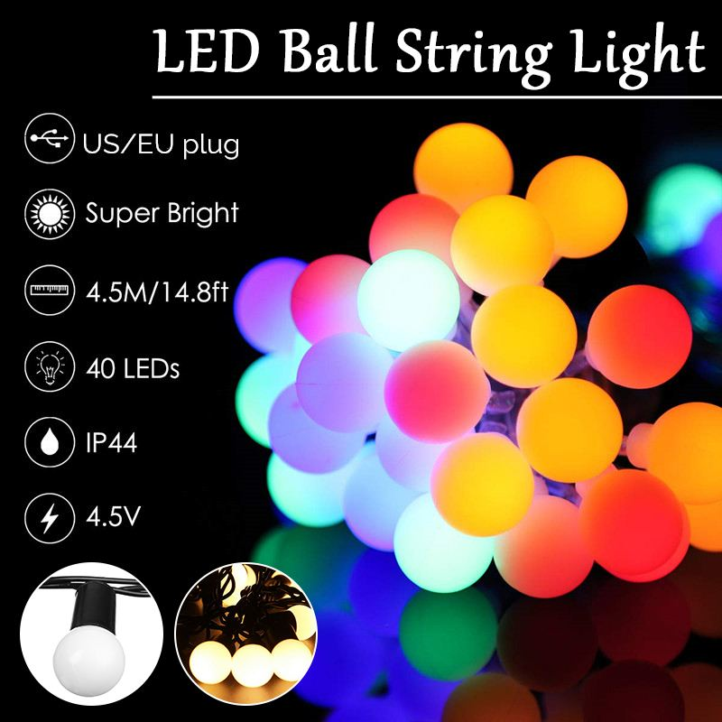 RGB LED Ball String Lights For Wedding Fairy Light Christmas Outdoor Indoor 4M 4.5M Garland Holiday Party Garden Home String
