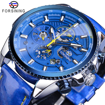 Forsining Blue Dial Luxury Mens Automatic Watches Stainless Steel Calendar Waterproof Genuine Leather Band Mechanical Male Clock jod 10 4cm 67 wing diy iron on decorative biker patches for clothes applications embroidery patch applique stickers badge fabric