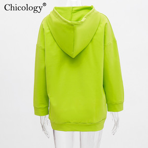 Image 5 - Chicology neon kız desen baskı boy streetwear hoodies kazak uzun kollu kpop giysileri 2019 sonbahar kış kadın üst