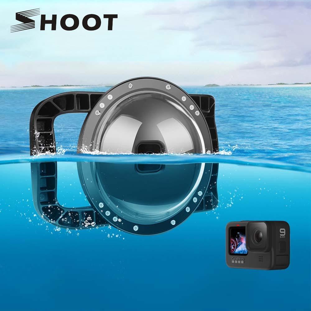 SHOOT для GoPro 9, купольный порт для дайвинга с двойной ручкой, триггер, подводный водонепроницаемый корпус, чехол для объектива для GoPro Hero 9, черн...