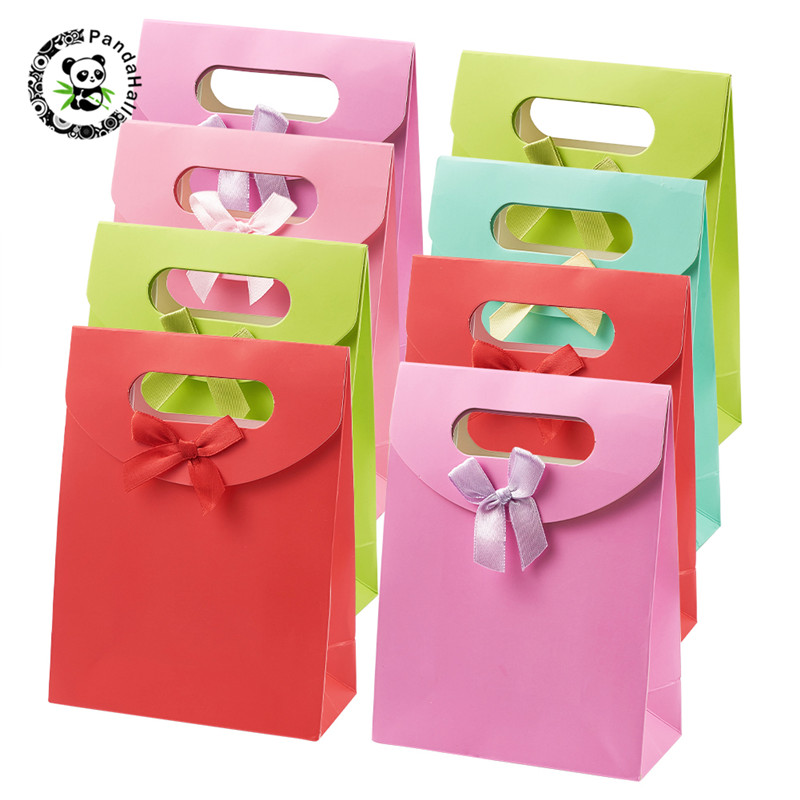 Pandahall 30 Pcs Paper Gift Bags With Ribbon Bowknot Design For Jewelry Beading Decoration Supplies Mixed Color 16.3x12.3cm