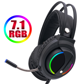 Gaming Headset 7.1 Surround Sound with Mic Earphones USB Wired RGB BackLight Gamer Headphones for Phone Tablet PC Xbox One PS4 sades locust plus gaming headset virtual 7 1 surround sound headphones rgb usb wired headband earphones