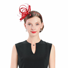 Red Fascinator Hats For Women Elegant Church Bow Royal Banquet Headdress Jockey Club Prom Tea Party Hair Clips Girls