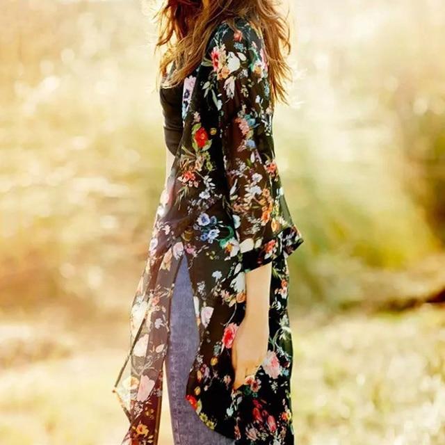 Women Vintage Floral Chiffon Shirts Small Fresh Simple Long Sunscreen Blouse Loose Shawl Kimono Cardigan Boho Tops 6