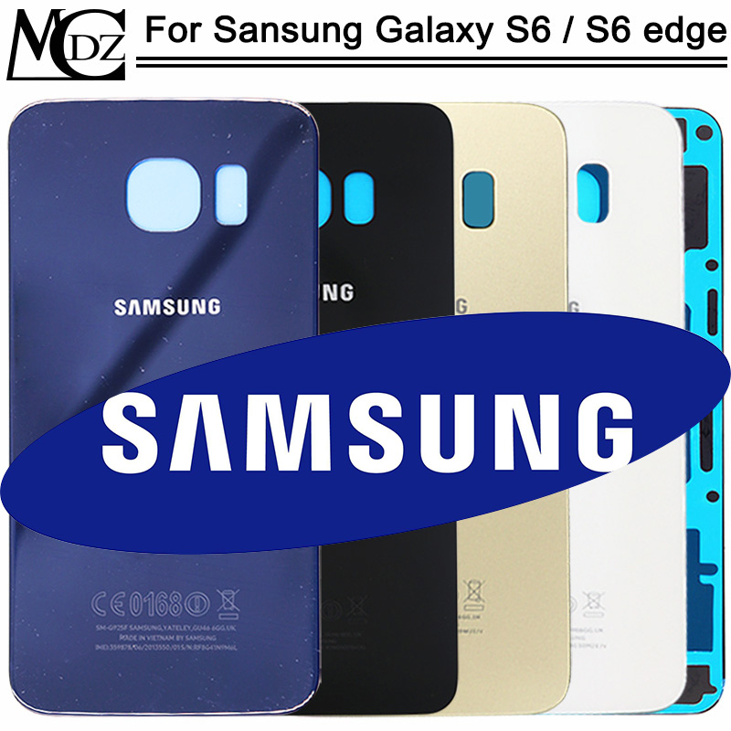 Original S6 Battery Cover For Samsung Galaxy S6 G920 / S6 Edge G925 / S6 Edge Plus G928 Back Cover Rear Door Glass Housing Case