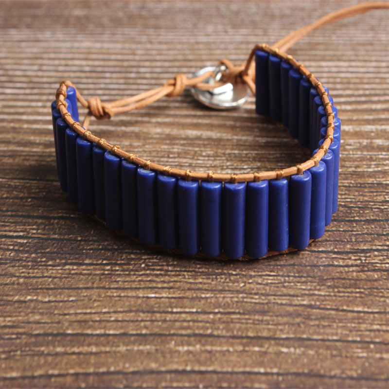 LanLi natural Jewelry cylinder bluestone knit bracelet men and women Giving presents and self use in Chain Link Bracelets from Jewelry Accessories