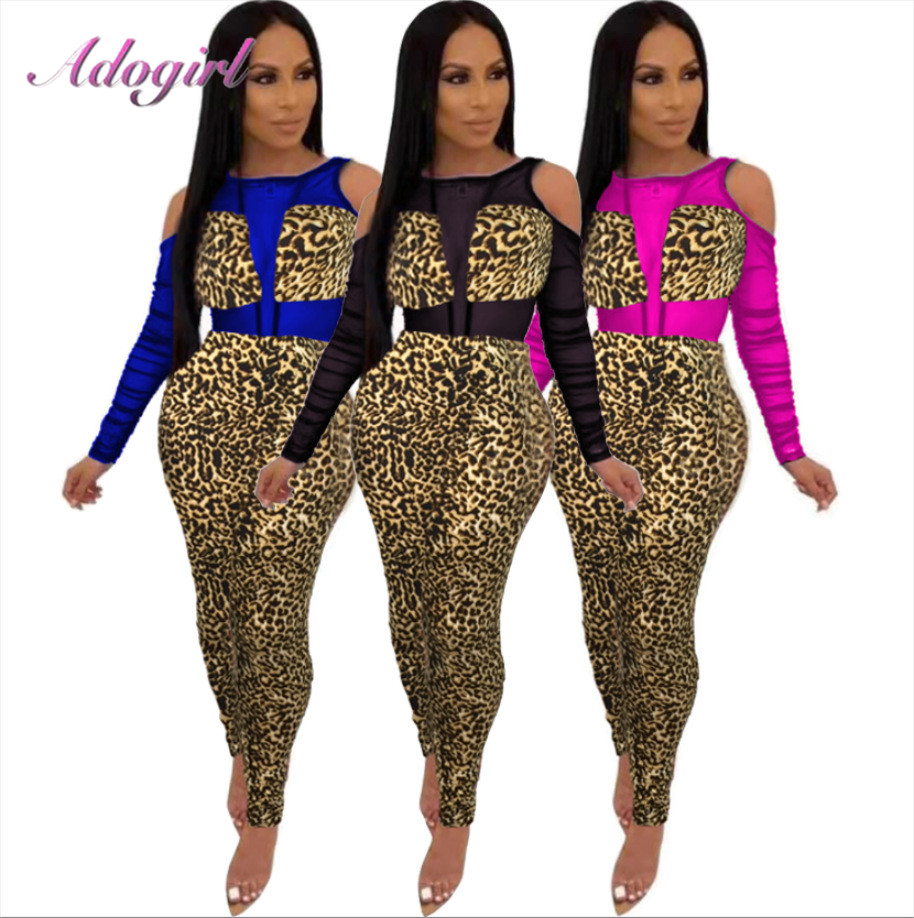 Sexy Sheer Mesh Patchwork Leopard Print Night Party Jumpsuit Women 2020 Backless Hollow Out Outfit Club Rompers Female Overalls