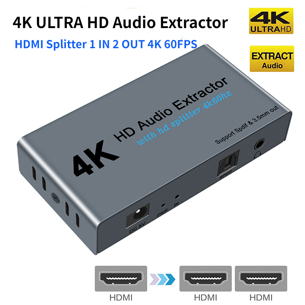 HDMI to HDMI Audio Extractor 4K 60Hz HDMI to Optical Spdif Toslink with HDMI and 3 5mm Stereo Audio Converter Adapter