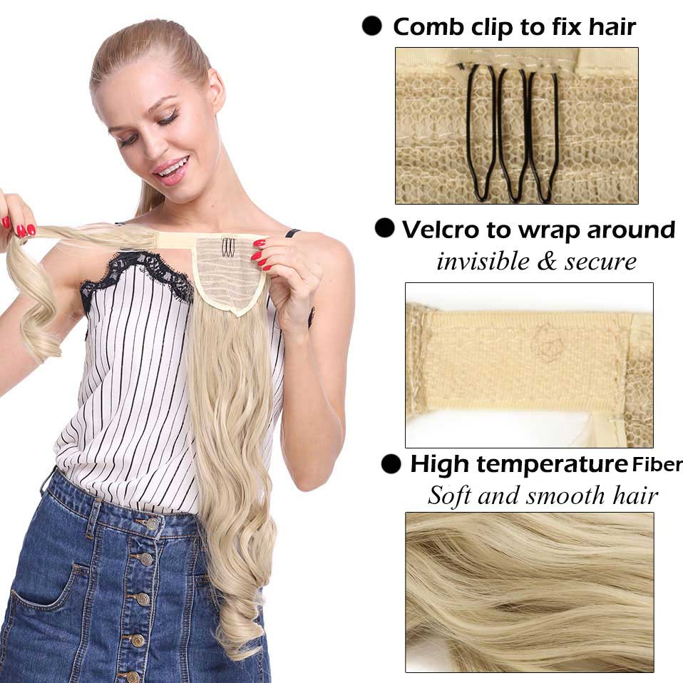 S-Noilite Hair-Extension Hairpiece Ponytail Wrap-Around Clip-In Fake Synthetic Women