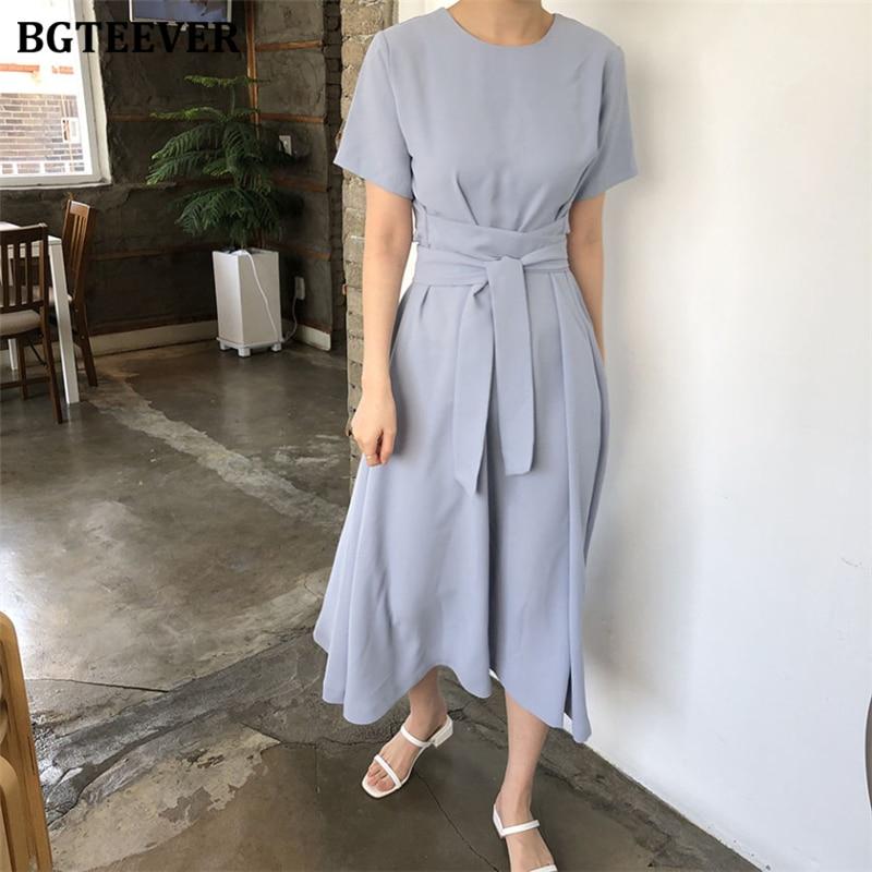 BGTEEVER Summer Short Sleeve Loose Women Dress  Casual O-neck Lace Up Female Dress 2020 Minimalism Solid Midi Vestidos Femme