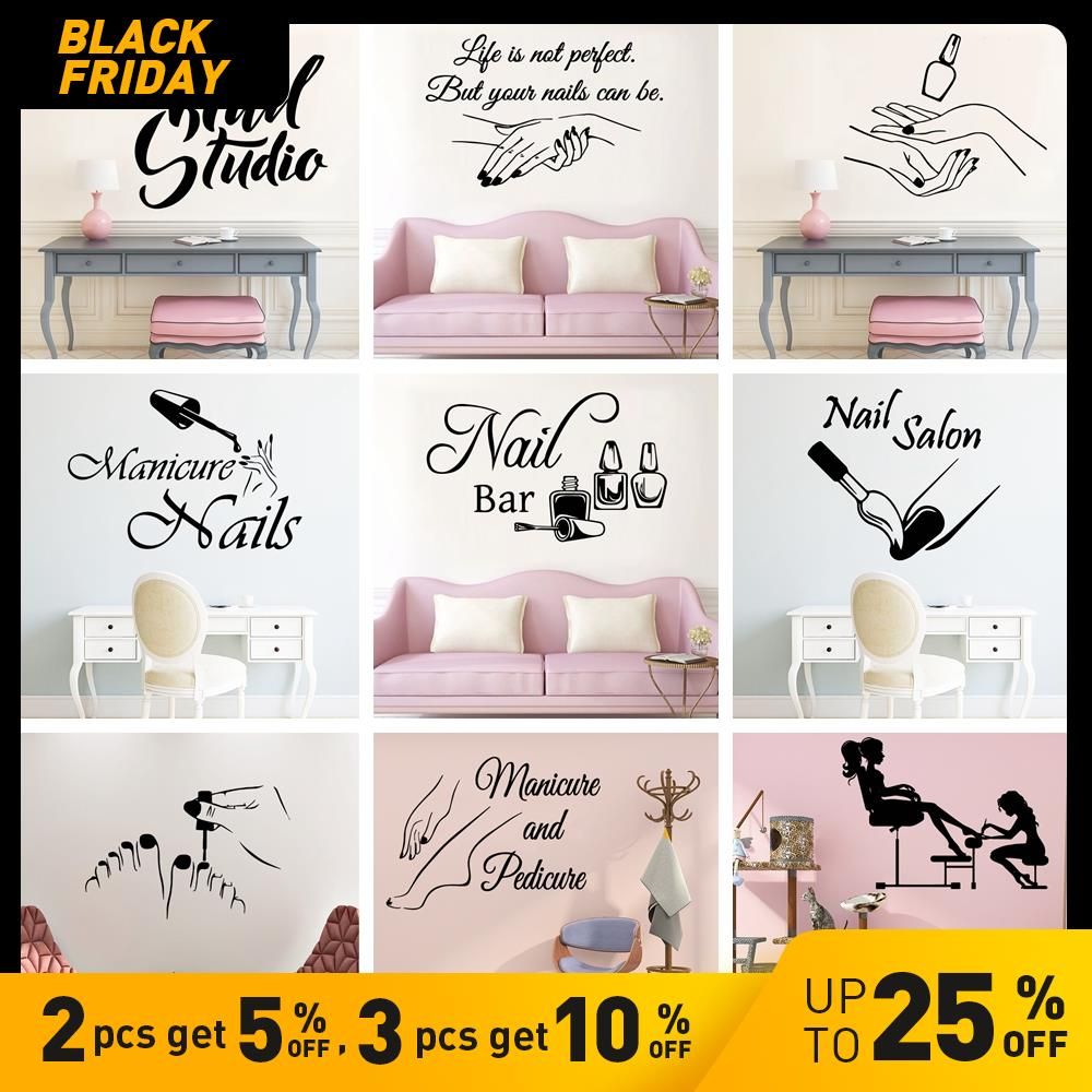 Top 9 Most Popular Nail Salon Vinyl Wall Sticker Brands And Get Free Shipping A681