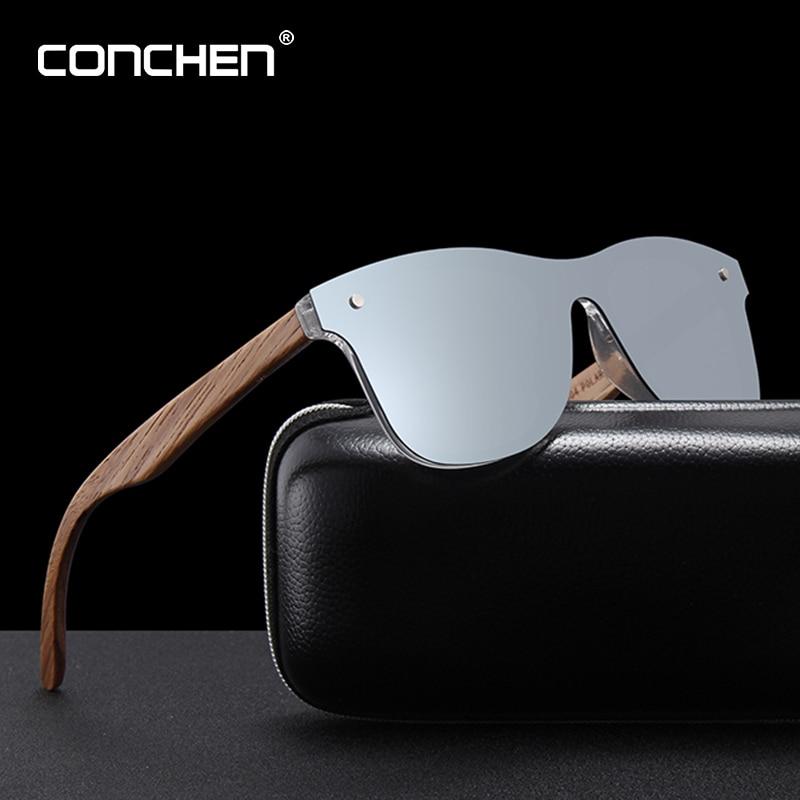 CONCHEN Wooden Sunglasses Men Fashion Wood Sunglasses Women Brand Designer Spectacles