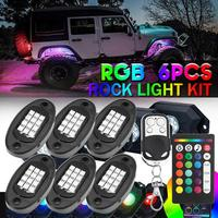 Nueva Luz LED de roca 6 en 1, luz de debajo del cuerpo, RGB, lámpara de ambiente para coche, bluetooth, camioneta todoterreno, todoterreno, lámpara de roca para camión ATV