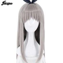 Ebingoo Anime miscela S Kanzaki Hideri Aus dritto lungo argento grigio parrucca Cosplay Costume di Halloween gioca parrucche per donna + cappellino parrucca