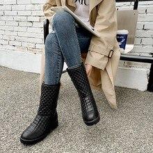 Talla grande 9 10 11 19 botas zapatos de mujer botas de tobillo para mujeres señoras botas Zapatos Mujer invierno sólido manga de cabeza redonda de color