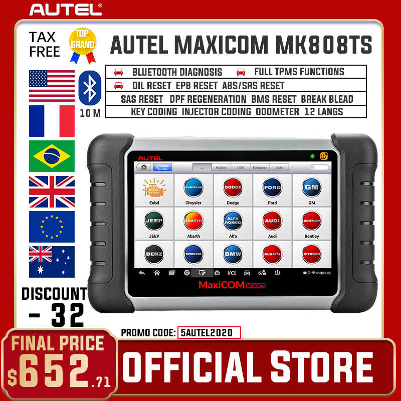 Autel Maxicom MK808TS OBD2 Bluetooth Scanner Automotivo Auto Diagnostische Scan Tool Obd 2 Programming Tpms Sensor Pk MK808 MP808TS