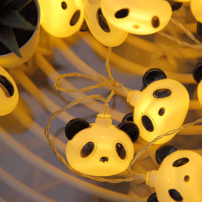 Fairy Chinese Mascot Treasure Panda Battery USB String Lights 6m LED Decor For Christmas Garland On The Window Luci Led Natale