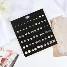 30 Pairs/Set Vintage Women Earrings Heart Cross Faux Pearl Rhinestone Charm Stud Earrings Jewelry Woman's accesories faux pearl decorated charm choker set