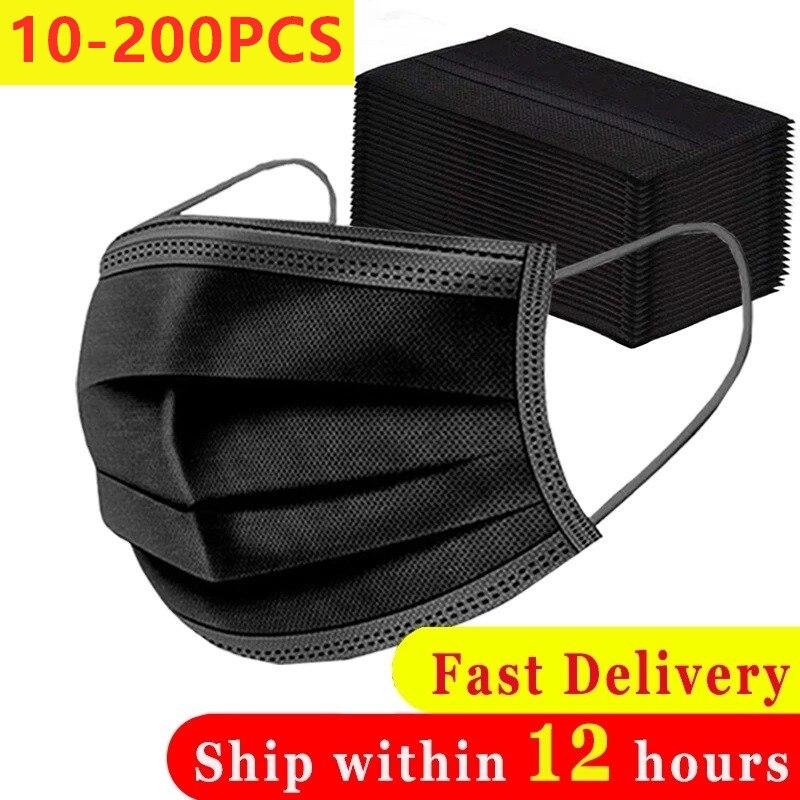 10-200 шт Одноразовые черные взрослых защитная маска против пыли с защитой от капель 3 слоев фильтр ушной не тканая лицевая маска для лица