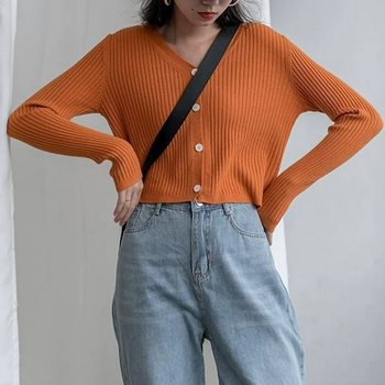 Korean Style O-neck Short Knitted Sweaters Women Thin Cardigan Fashion Long Sleeve Crop Top Kawaii Cute Ropa Mujer image