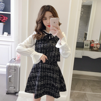 Autumn Winter New 2020 Vintage Dresses Korean Women Elegant Dress Party Long Sleeve Runway Vestidos White Dress Clothes 721J delocah new women autumn dress runway fashion 3 4 sleeve floral printed beading back zipper elegant vintage party mini dresses
