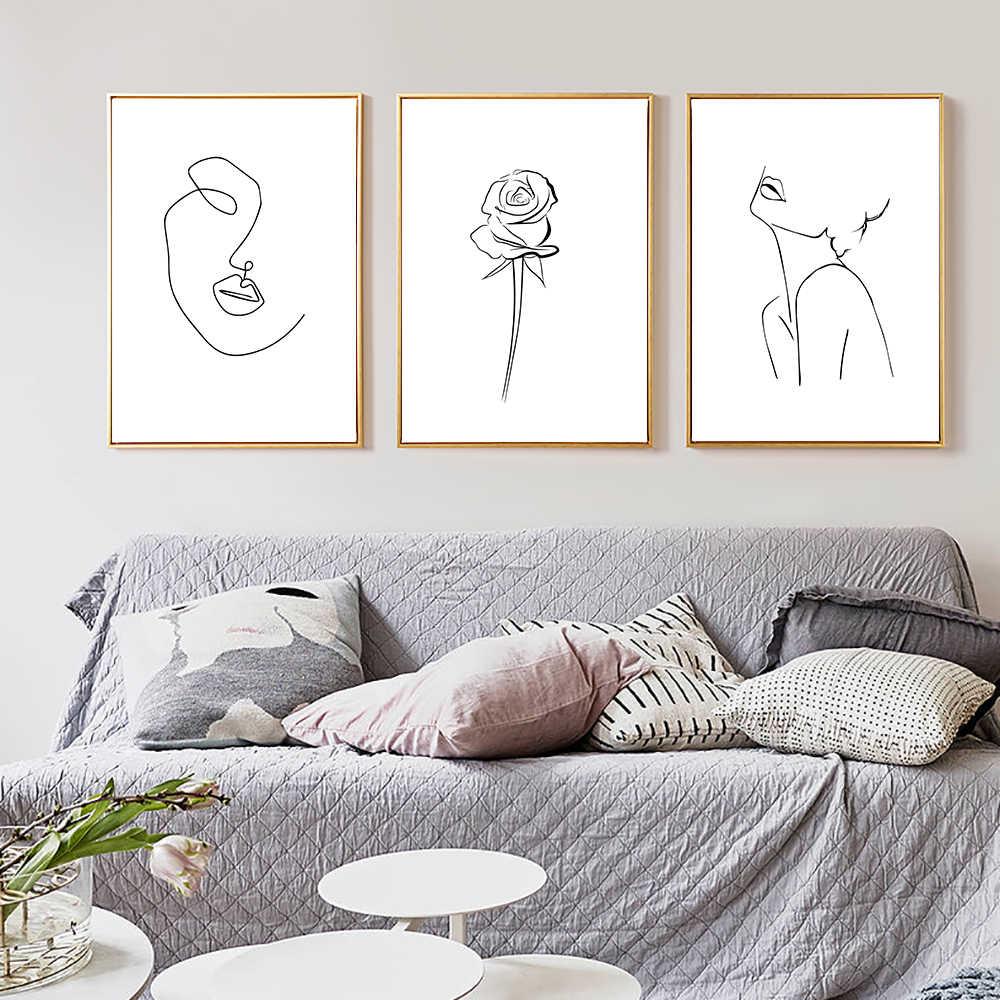 Linee Poster Donna Pittura Schizzo Linea di Disegno Dipinti di Arte Moderna Della Tela di Canapa di Arte Della Parete Nordic Immagine Astratta Minimalista Poster