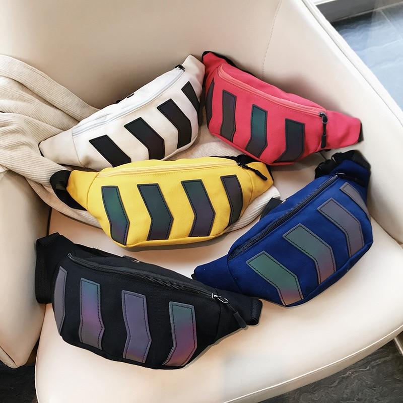 Reflective Chest Bag For Men Canvas Geometric Patterns Fashion Women Streetwear Hip-Hop Crossbody Bags Casual Travel Waist Pack