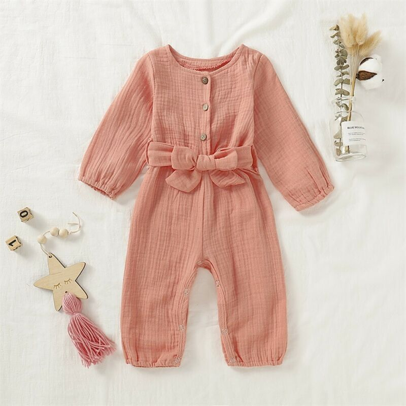 CANIS Autumn Newborn Baby Girl Long Sleeve Button Bowknot Lovely Romper Jumpsuit Cotton Linen Clothes