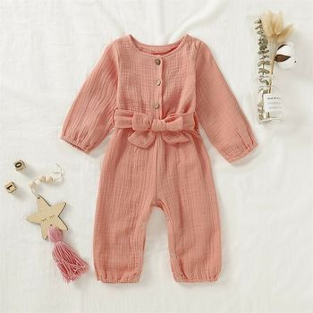 цена CANIS Autumn Newborn Baby Girl Long Sleeve Button Bowknot Lovely Romper Jumpsuit Cotton Linen Clothes онлайн в 2017 году