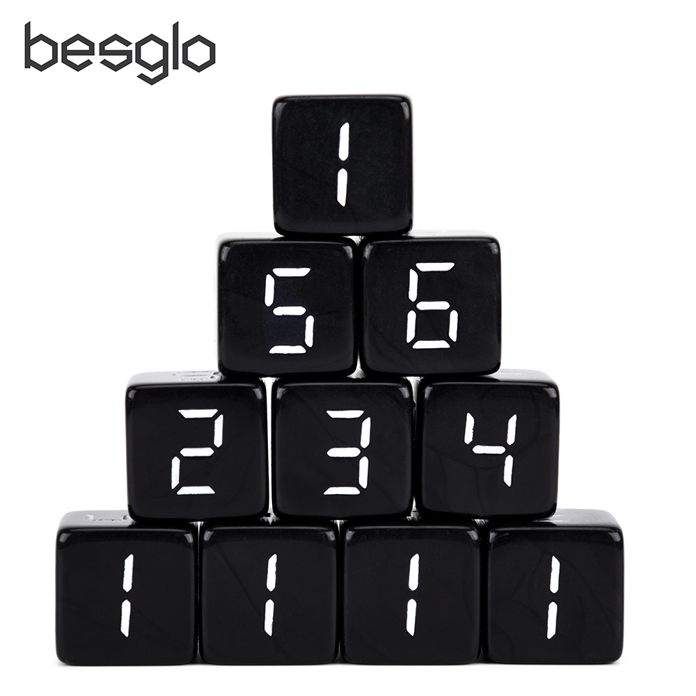 Set Of 10 16mm 6 Sided Digital Dice Black For DnD RPG And Other Tabletop Games