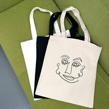 Canvas-Bags Tote Cloth Printing Harajuku Girls Casual Women for Ladies Simple Art-Line
