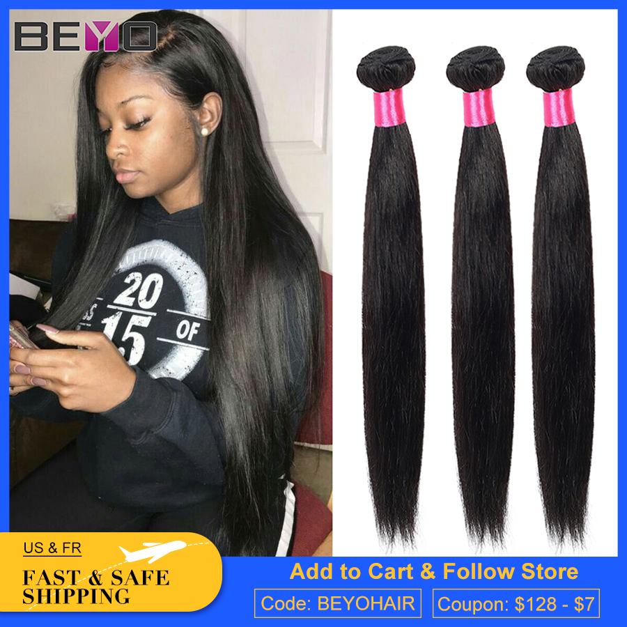 Beyo Peruvian Straight Hair Bundles 8- 28 Inch 100% Human Hair Bundles Natural Color Non-Remy Hair Extension 3 Or 4 Bundles