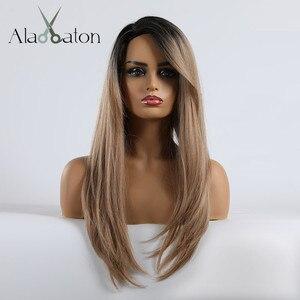 Image 2 - アランイートンロングストレートヘアウィッグ黒人女性かつら前髪毎日衣装コスプレオンブル黒茶色ブロンドかつら女性