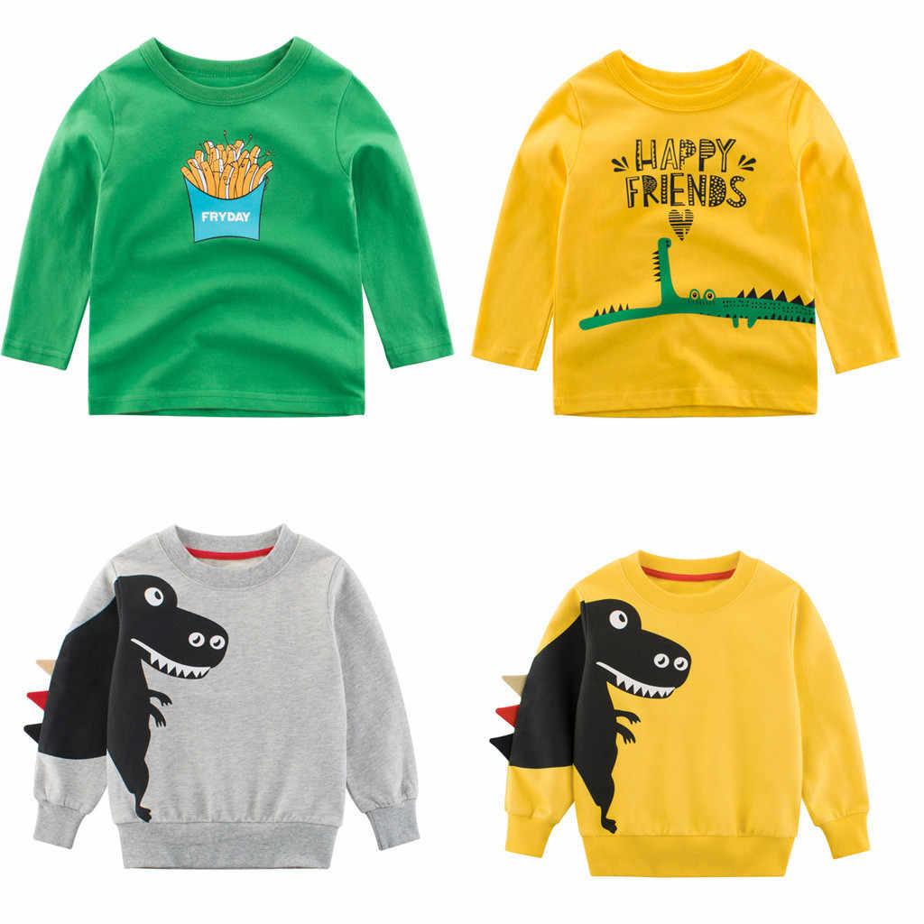 الكرتون ديناصور الفتيان طويلة كم T قميص ل 1-7Years القديم القطن الأطفال الاطفال الفتيان قمم المحملات T قميص الربيع الخريف القطن