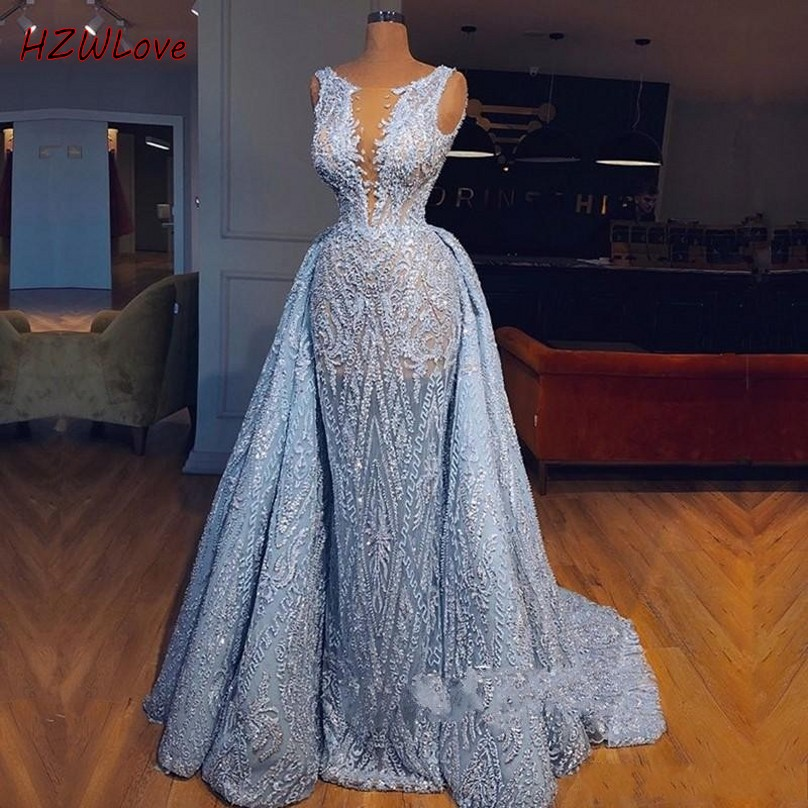 Light Blue Overskirts Prom Dresses Long Dubai Arabic Sheer Neck Lace Mermaid Evening Gowns Sweep Train African Party Dress
