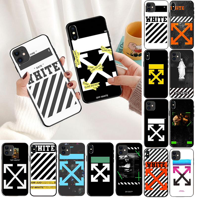 Hot off ow malerei stripes soft silicon abdeckung fall für <font><b>iphone</b></font> 6 7 7plus 8 8plus <font><b>X</b></font> XR <font><b>XS</b></font> <font><b>MAX</b></font> 11 pro <font><b>max</b></font> weiß crossing telefon image