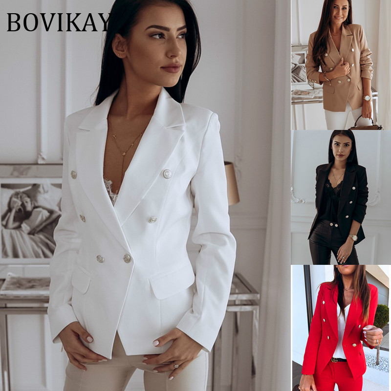BOVIKAY Spring Metal Double Breasted Womens Jacket Blazer Notched Collar Female Suit Coat Fashion Office Lady Casual Streetwear