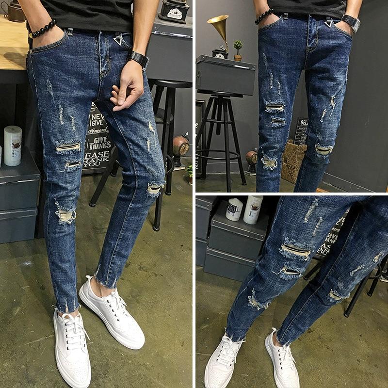 Wholesale 2020 Jeans Male Ripped Hole Spring Autumn Ankle Length Pants Teenagers Korean Slim Feet Skinny Jeans Men Pencil Pants
