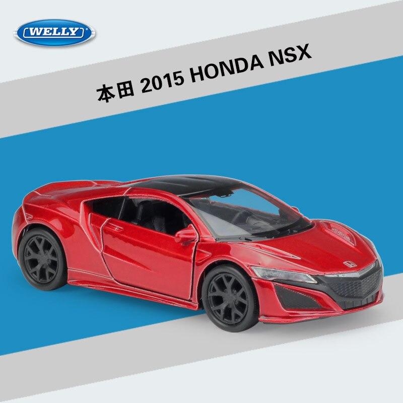 Modelo de vehículo de aleación de simulación WELLY, escala 1:36, HONDA NSX 2015, coche extraíble, adornos de juguete, colección de Souvenir, regalos de exhibición