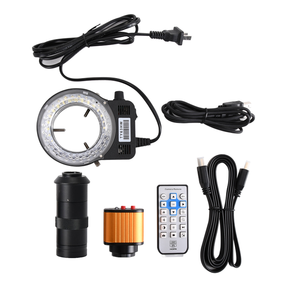 16MP HD <font><b>Microscope</b></font> sets 60F/S HDMI <font><b>USB</b></font> Industrial <font><b>Microscope</b></font> Camera+<font><b>100X</b></font> C mount lens+56 LED Ring Light For Phone PCB Repair image